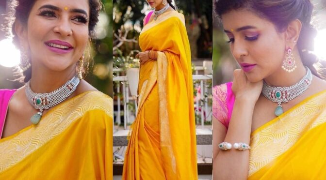 Lakshmi Manchu stuns in yellow silk saree!
