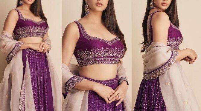 Lavanya Tripathi in purple chikankari lehenga from Issa Designer Studio!