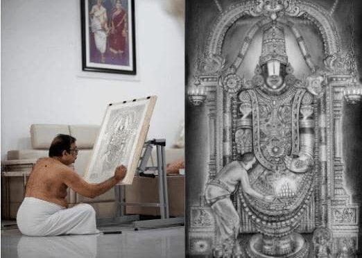 Allu Arjun got a suprise hand drawn sketch of Lord venkateshwara from Brahmanandam as New Year gift!