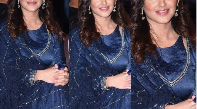 "Malvika Sharma in navy blue anarkali at ""RED"" movie success meet!"