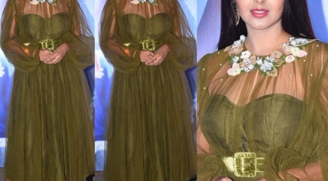 Monal Gajjar at the pre-release event of Alludu Adhurs!
