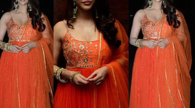 Nabha Natesh in an orange anarkali suit at Alludu Adhurs success meet!