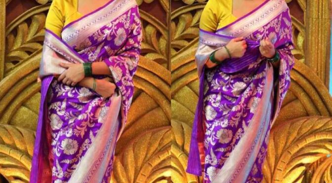Rachita Ram in purple Raw Mango silk saree!