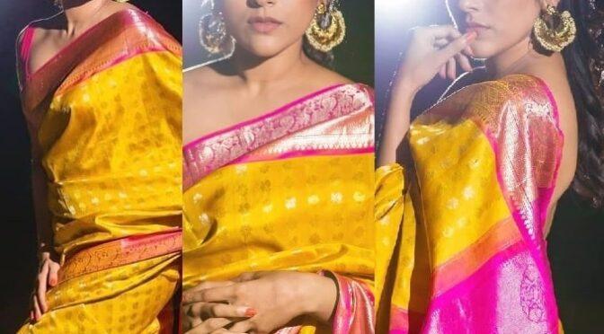 Rashmi Gautam Stuns in a traditional yellow kanjeevaram saree!