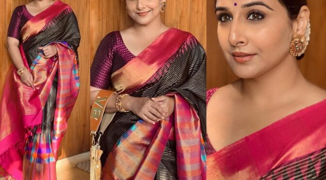 Vidya Balan looking graceful in a black silk saree at a recent wedding!