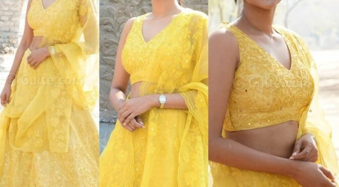 Aishwarya Lekshmi looking graceful in yellow lehenga at Godse movie Launch!