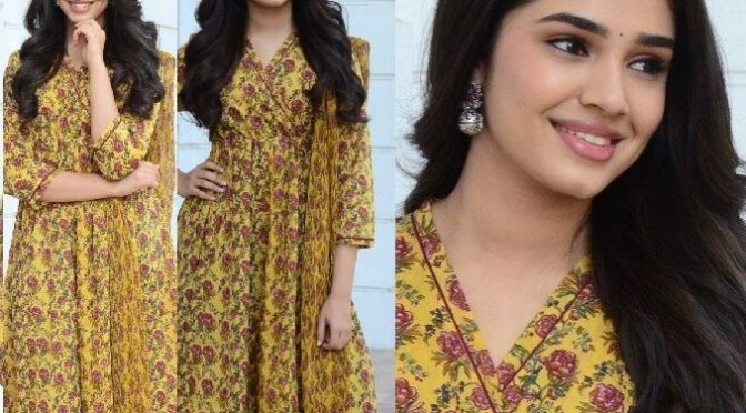 Krithi Shetty stuns in yellow Anarkali for promotions of Uppena!