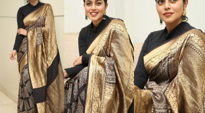 Poorna in a black silk saree attends Sundari movie Trailer launch event!