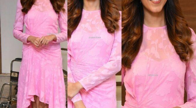"Ritu Varma in a baby pink dress at ""Ninnila Ninnila""press meet!"