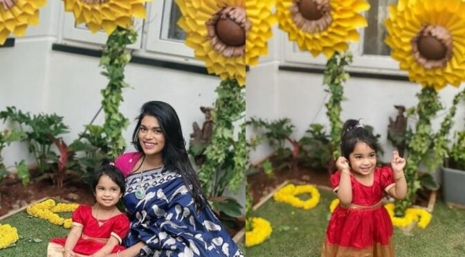 Sreeja Kalyan and her daughter in Traditinal outfits.
