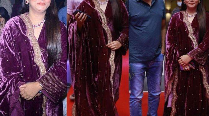 "Thabitha Sukumar in velvet anakali set at ""Uppena""pre-release event"