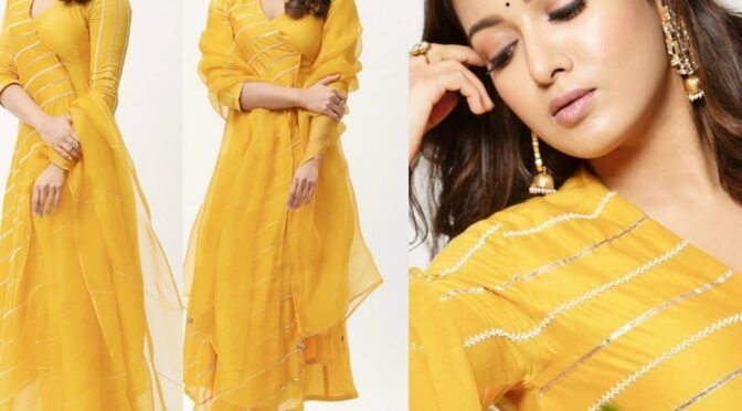 "Catherine Tresa in yellow kurta for ""Bala Thandanna"" puja!"