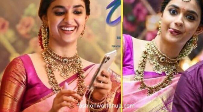 Keerthy Suresh stuns in Pink kanjeevaram saree!