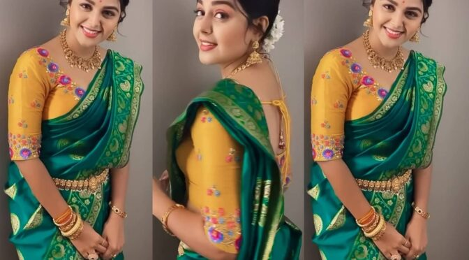 Monal Gajjar looking beautiful in a green silk saree!