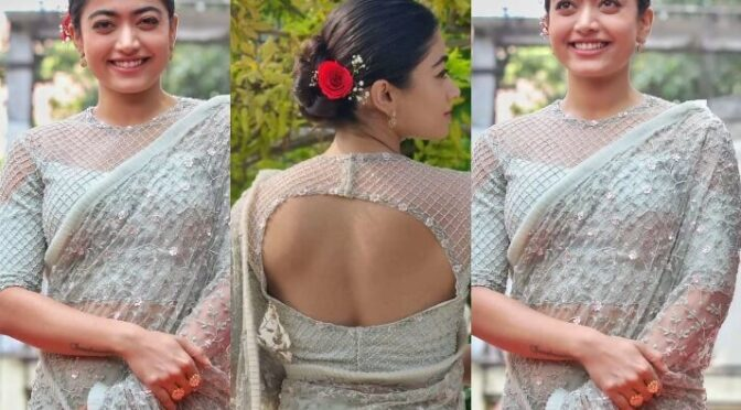 "Rashmika Mandanna stuns in net saree at ""Sulthan"" trailer launch event!"