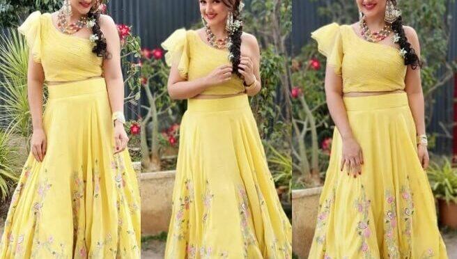 Sridevi vijaykumar stuns in yellow skirt and crop top by Lekhareddy designs!