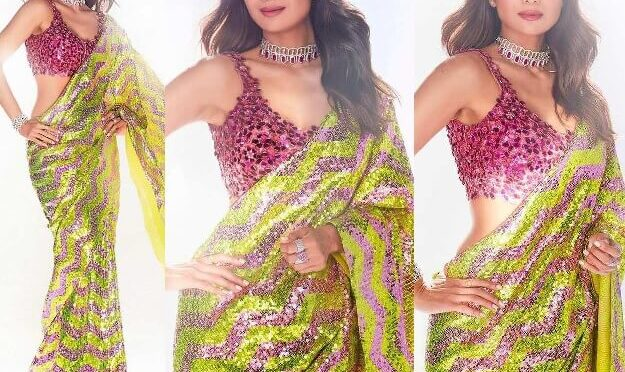Shilpa Shetty looking stunning in lime -pink sequin saree for Super Dancer-4!