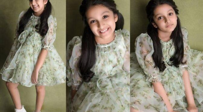 Sitara Ghattamaneni looking cute in green printed dress by Janya's closet!