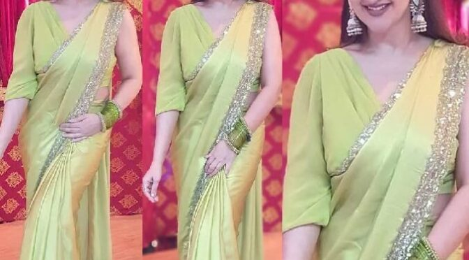 Sridevi Vijaykumar looking gorgeous in lime green saree by Mugdha art studio!
