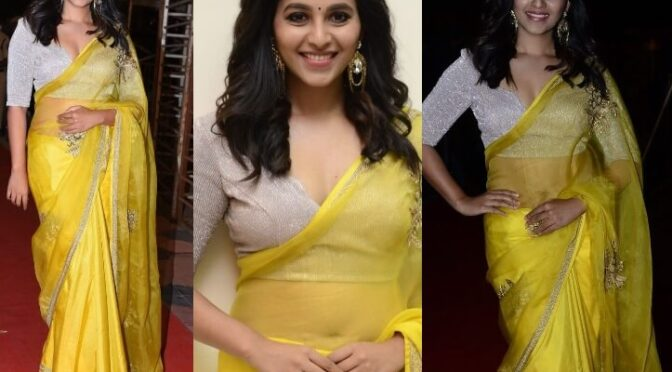 "Anjali opted yellow saree for ""Vakeel Saab"" pre-release event!"