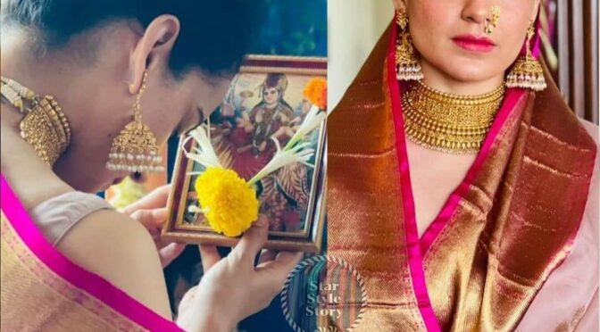 Kangana Ranaut celebrates Gudi Padwa wearing a Traditional saree!