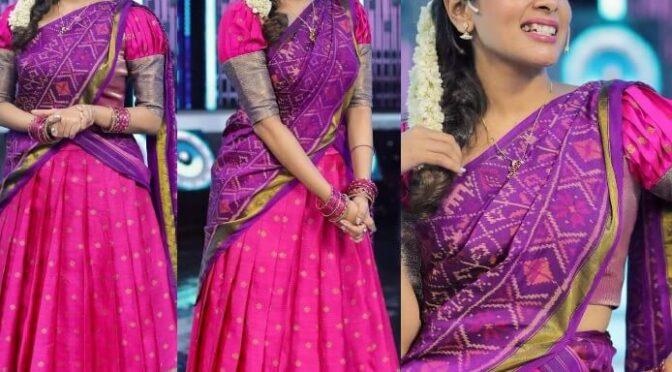 Kiki Vijay in a pink pattu half saree by Studio 149!