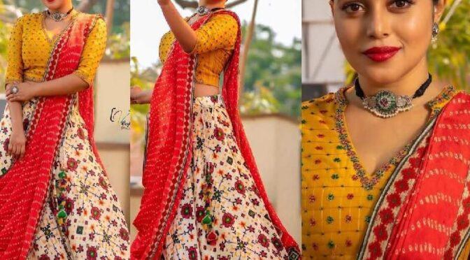 Poorna looking beautiful in handloom lehnga by Shraddha Rambhia!