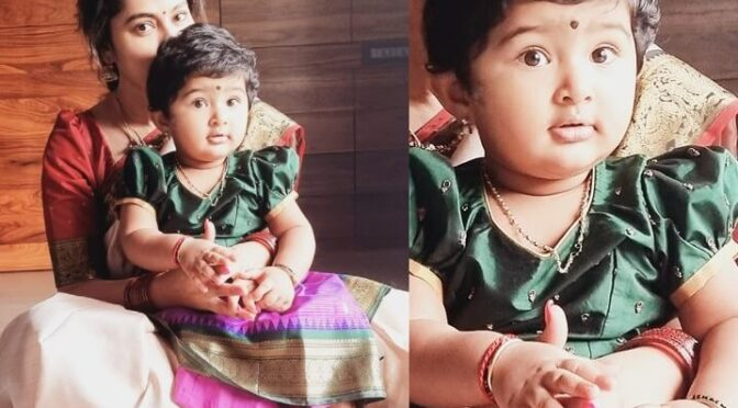 Actress sneha and her daughter in traditional outfits!