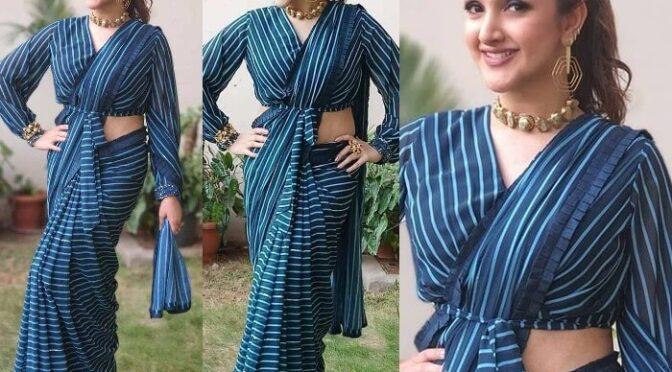 Sridevi vijaykumar looking stunning in a striped saree!