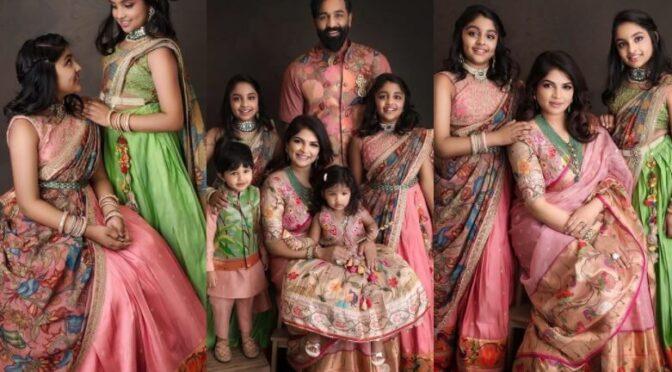 2021 Ugadi : Vishnu Manchu family looking adorable in Traditional outfits!