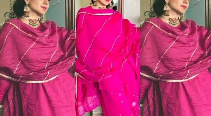 Kangana Ranaut looking beautiful in a Rani pink gharara set!