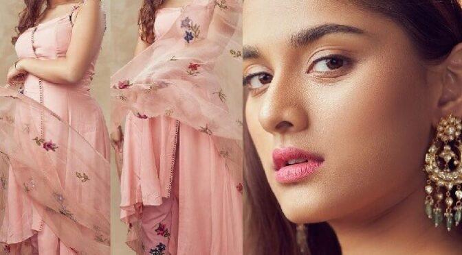 "Saiee Manjrekar in blush pink ensemble by Mahima Mahajan for promotions of ""Major""!"