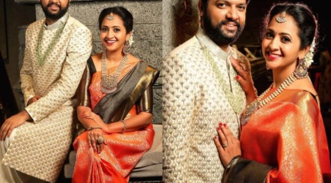 Anchor Lasya and manjunath in traditional outfits by Mugdha art studio!