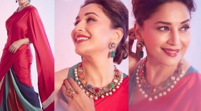 Madhuri Dixit looking beautiful in red saree by Kshitij Jalori!