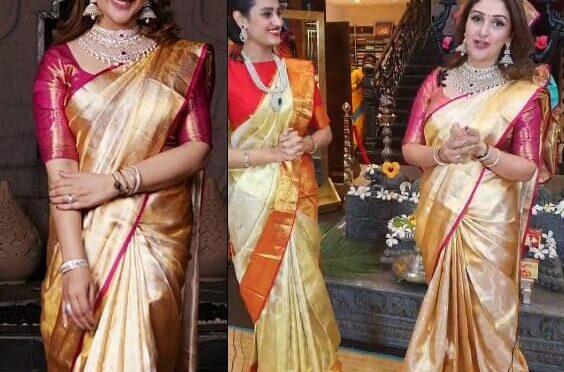 Sridevi vijaykumar stuns in Gold kanjeevaram saree!