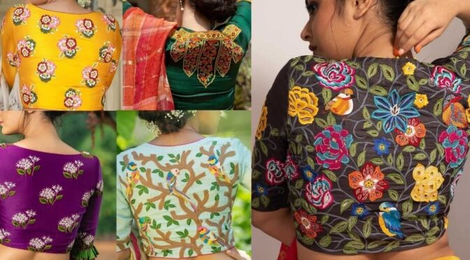 Mind blowing embroidery work blouses by Sayanti Ghosh