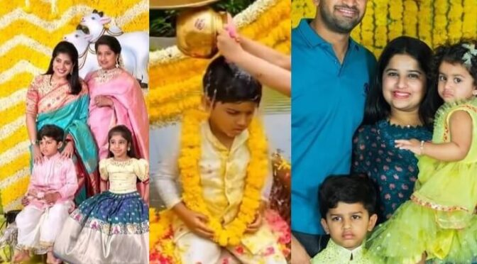 Hanishitha reddy and her kids stuns in traditional outfit at a recent family function!