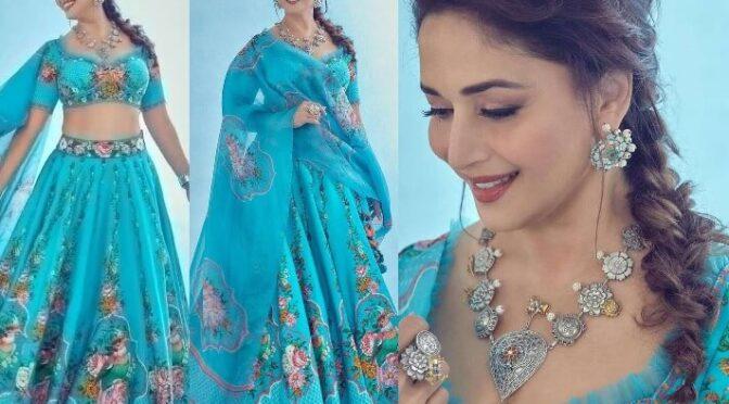 Madhuri Dixit stuns in blue floral lehenga!