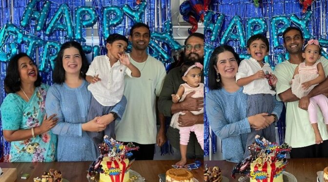 Radhika sarathkumar grand son's third birthday celebration photos!
