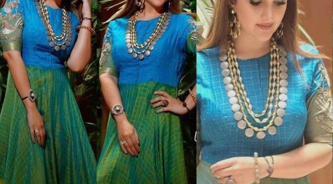 Sridevi vijaykumar stunning in peacock hued anarkali