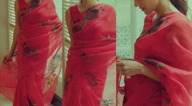 """Tapsee Pannu stuns in Red organza saree for promotions of """"Haseen Dilruba"""""""