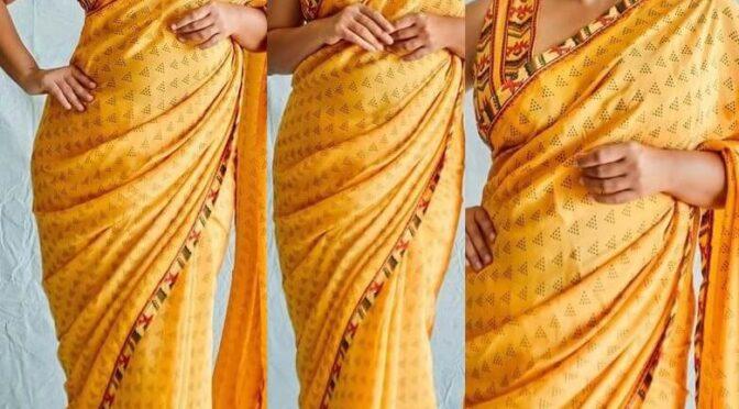 "Vidya Balan in yellow printed saree for promotions of ""Sherni""!"
