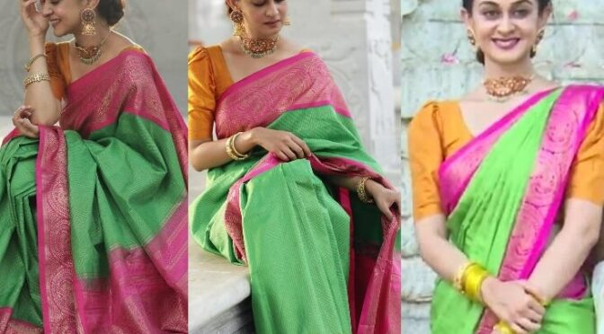 Aishwarya Arjun looking beautiful in Green silk saree by Bhargavi kunam!