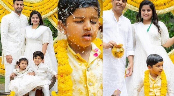 Dil raju's grandson Araansh mangalasnanam function photos