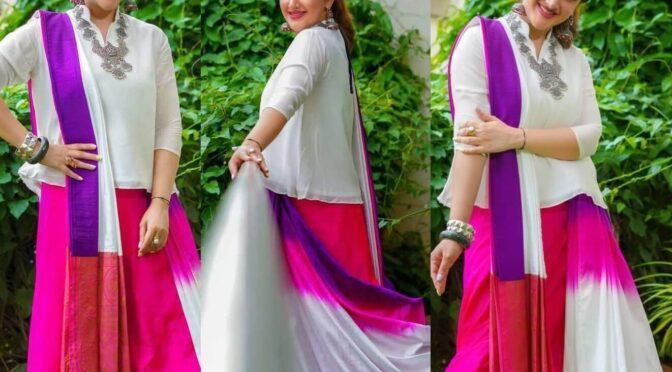 Sridevi Vijaykumar looking beautiful in indo western saree!