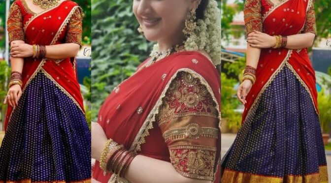 Sridevi vijaykumar looking beautiful in Traditional kanchi pattu Halfsaree!