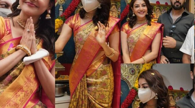 Kajal Aggarwal looking stunning in Gold pattu saree at a shopping mall launch event!