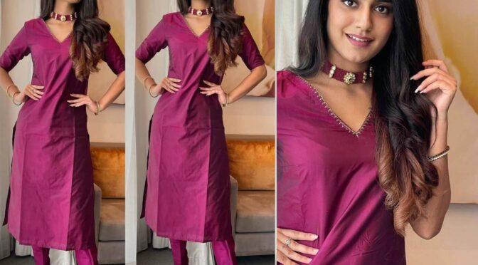 "Priya Prakash Varrier in burgundy kurta-set for ""Ishq"" promotions!"