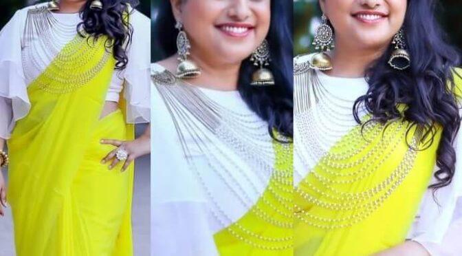Roja Selvamani stuns in neon green saree with white blouse!