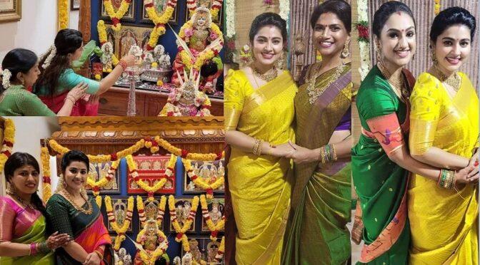 Actress Sneha Prasanna stuns in Kanjeevaram Sarees for Varalakshmi Vratham pooja!